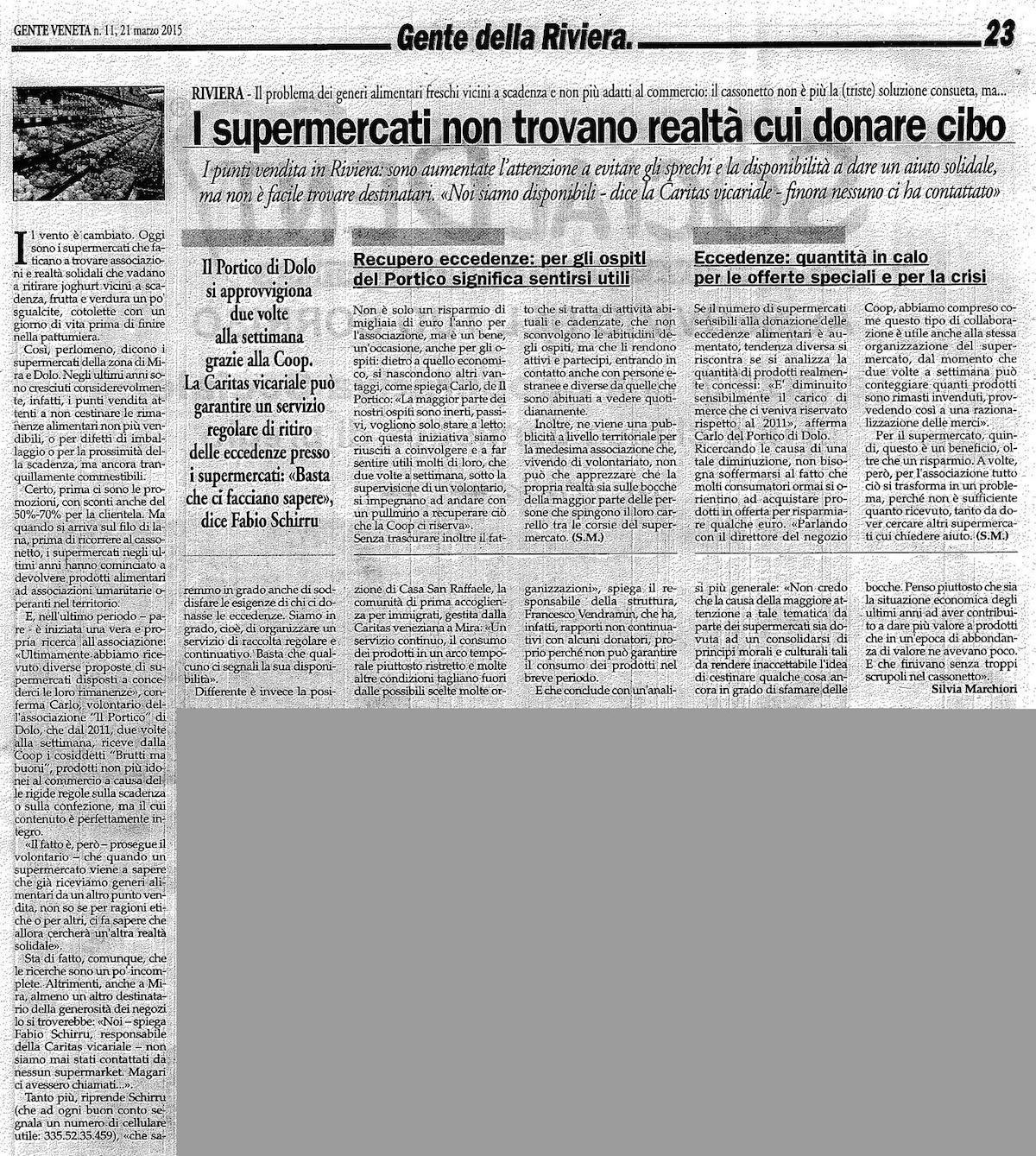 2015.03.21 Gente Veneta (p. 23) ARTICOLO COMPLETO